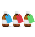 brown plastic bottles with colored paper tags vector image vector image