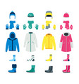 cartoon color winter clothes icon set vector image vector image