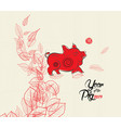 chinese new year with pig in frame and floral vector image vector image