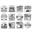 coffee cups espresso machine beans and donuts vector image