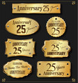 collection of anniversary retro gold labels 25 vector image vector image