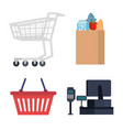 commercial supermarket set icons vector image