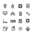 computer components signs black thin line icon set vector image