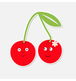 Cute cartoon cherry couple with happy faces Card vector image vector image