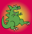 cute green screaming cartoon dino vector image
