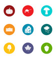 daily bread icons set flat style vector image