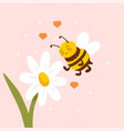 daisy flower with cute bee flying nearby on pink