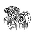 devil girl character hand drawn on vector image vector image