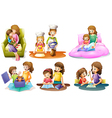 Different activities of a mother and a child vector image vector image