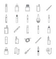 electronic cigarette mod icons set outline style vector image
