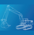 excavator wire-frame eps10 format vector image vector image