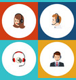 flat telemarketing set of service headphone vector image vector image