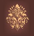 gold damask volumetric ornamental element elegant vector image vector image