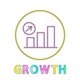 growth diagram with arrow-up rounded lineart icon vector image