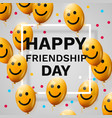 happy friendship day greeting card with frame and vector image