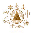 happy new year greeting card abstract golden icons vector image