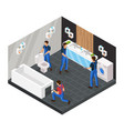 isometric bathroom renovation concept vector image vector image