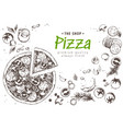 italian pizza top view frame a set of classic vector image vector image