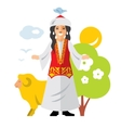 Kazakh Woman Historical clothes vector image vector image