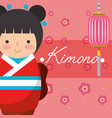 kokeshi japanese national doll in a red kimono vector image