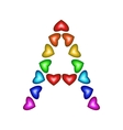 Letter A made of multicolored hearts vector image vector image