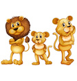 Lion family standing together vector image vector image
