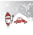Man and car with snowbank on roof winter blizzard vector image