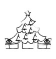 merry christmas happy tree star bells gift vector image vector image