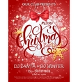 merry christmas party poster with paper vector image vector image