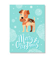 merry christmas postcard with boxer puppy and vector image vector image