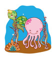 octopus and turtle animals with seaweed plants vector image vector image