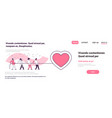people group pulling rope big pink heart shape vector image vector image