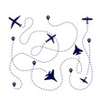 plane paths aircraft way dotted path or road vector image