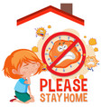 please stay home banner with children vector image vector image