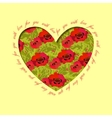 Poppy heart design Floral love card vector image vector image