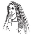 queen henry vii is a angular head-dress vector image vector image
