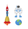 Set space astronaut planet Earth rocket vector image vector image