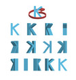 sheet of sprites rotation of cartoon 3d letter k vector image vector image