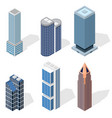 skyscraper building set isometric view vector image vector image