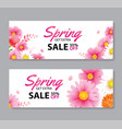 spring sale voucher banner with blooming flowers vector image