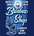 stylish poster for advertising barbershop with vector image vector image