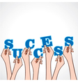 success word in hand vector image vector image