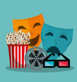 theater masks cinematographic icons vector image vector image