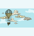 turquoise antique air balloon in sky with clouds vector image