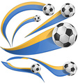 ukraine flag set with soccer ball vector image