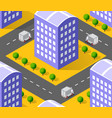 urban isometric area with building trees lawns vector image vector image