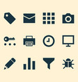 user icons set with print display wait and other vector image vector image