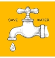 water tap with drop engraving style vector image