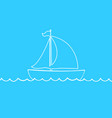 white outline silhouette of sailing ship on blue vector image vector image
