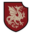 winged heraldic dragon and heraldic shield vector image vector image